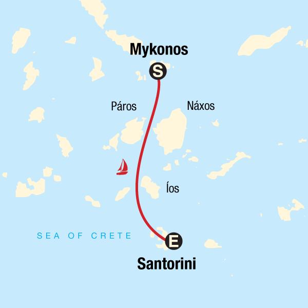 Karte Griechenland Mykonos.Segeln In Griechenland Von Mykonos Nach Santorini