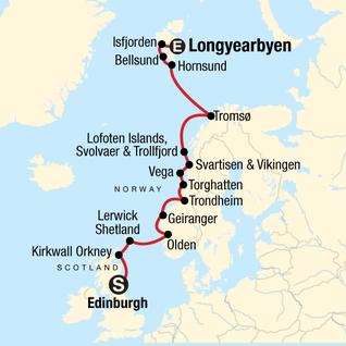 Map of Norwegian Arctic and Scottish Highlands Encompassed