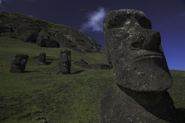 With its round head, kneeling posture and beard, this moai is completely unique —?and a complete mystery