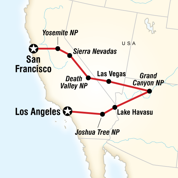 San Francisco To Los Angeles Express In United States North - Us map san francisco