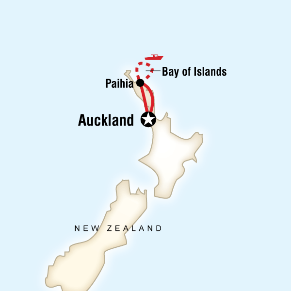 Map of the route for New Zealand–The Bay of Islands