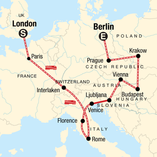 Map of London to Berlin: Art & the Alps