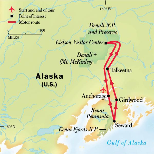Map of the route for Alaska Family Journey: Wilderness Explorer