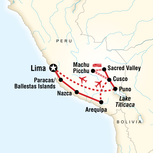 Map of the route for Inca Explorer