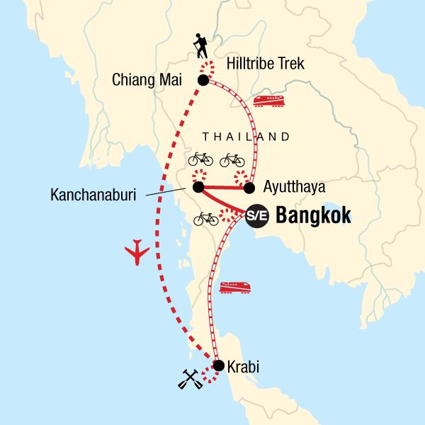 Thailand Karte.Thailand Wandern Fahrrad Und Kajak
