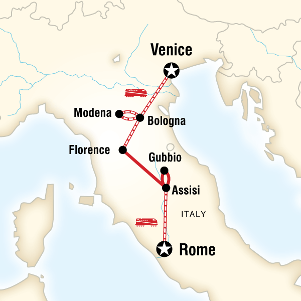 Map of the route for Ultimate Italy: Winter