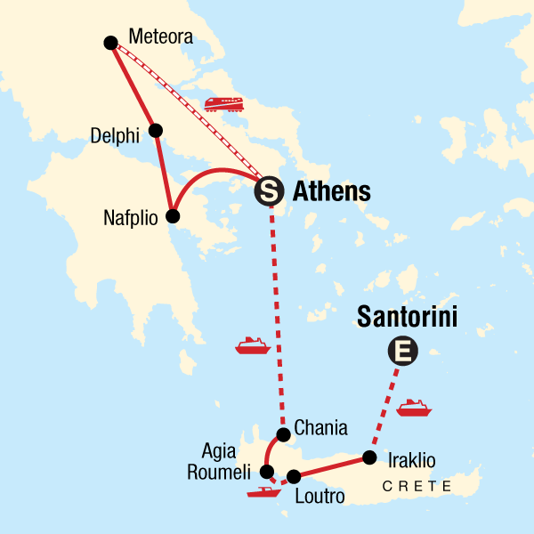 Map of the route for Best of Greece