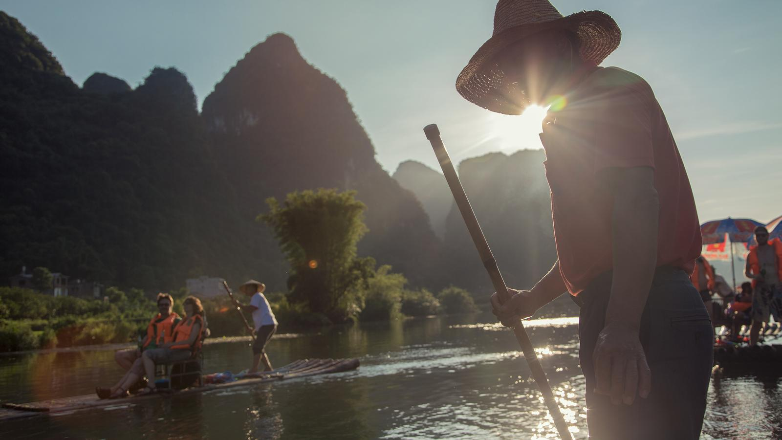 Rafting down the Yangshuo River in China