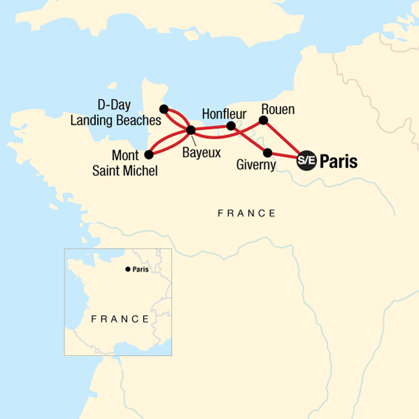 Map of the route for Paris & Normandy Highlights