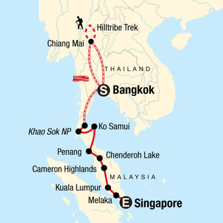 Map of Southeast Asia: Hilltribes & Street Food