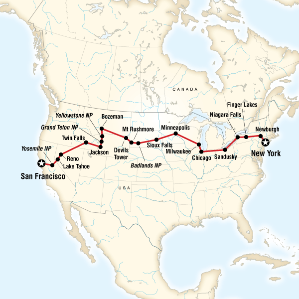 Map Of The Route For Coast To Coast Camping Westbound