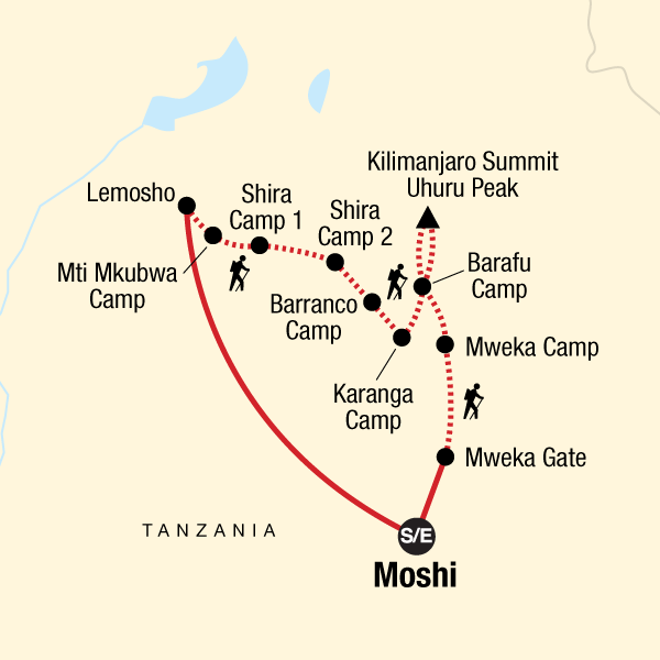 Map of the route for Mt Kilimanjaro Trek - Lemosho Route