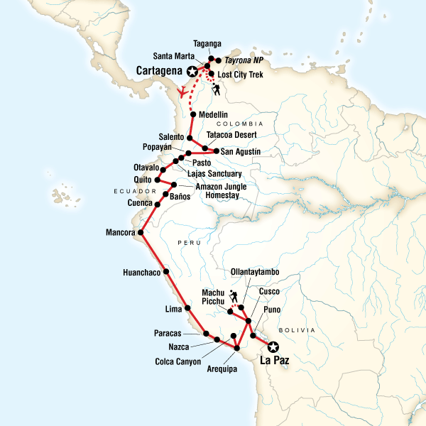 Colombia through the Andes–Cartagena to La Paz in Colombia, South ...