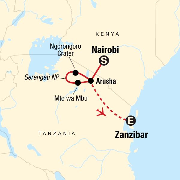 Map of the route for Classic Serengeti & Zanzibar