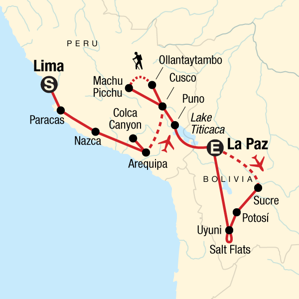 Map of the route for Inca Heartland & Bolivia Discovery