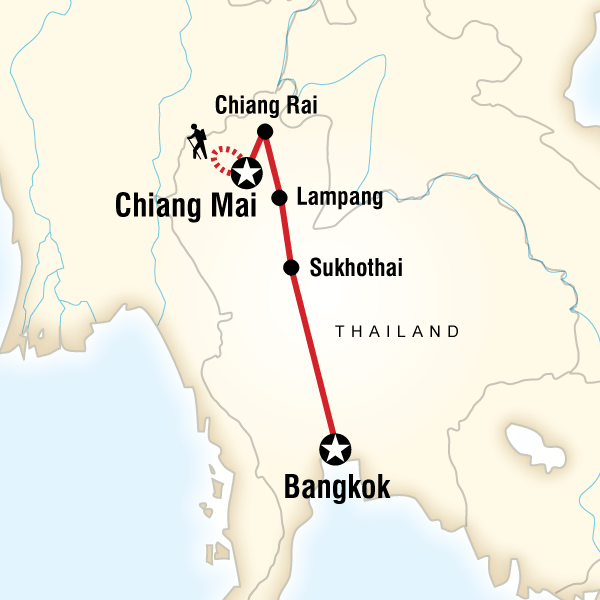 Map of the route for Northern Thailand Sampler