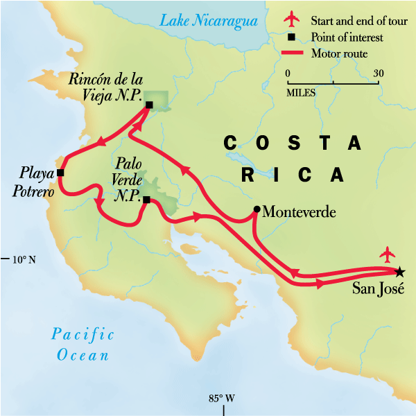 Map of the route for Costa Rica Family Journey: From Rainforest to Coast