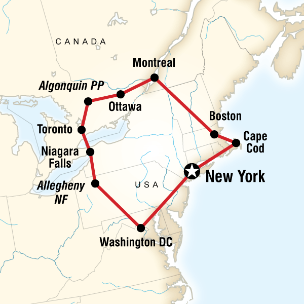 map of the route for highlights of the eastern us canada