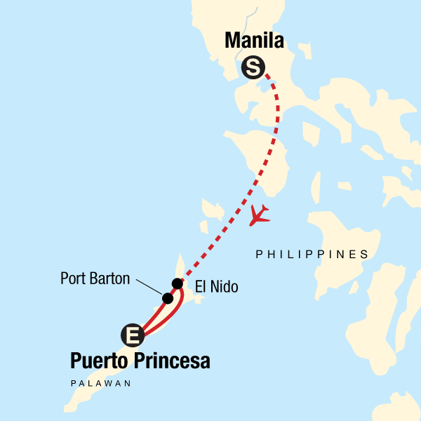 Map of the route for Philippines Palawan Adventure
