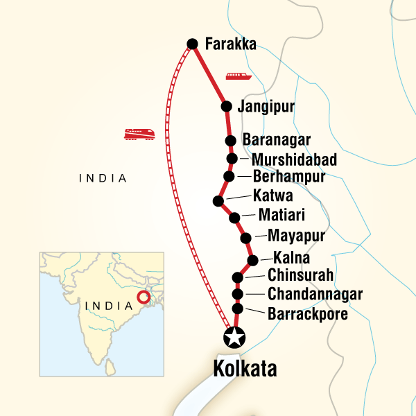 Map of the route for India River Cruise – Ganges Experience