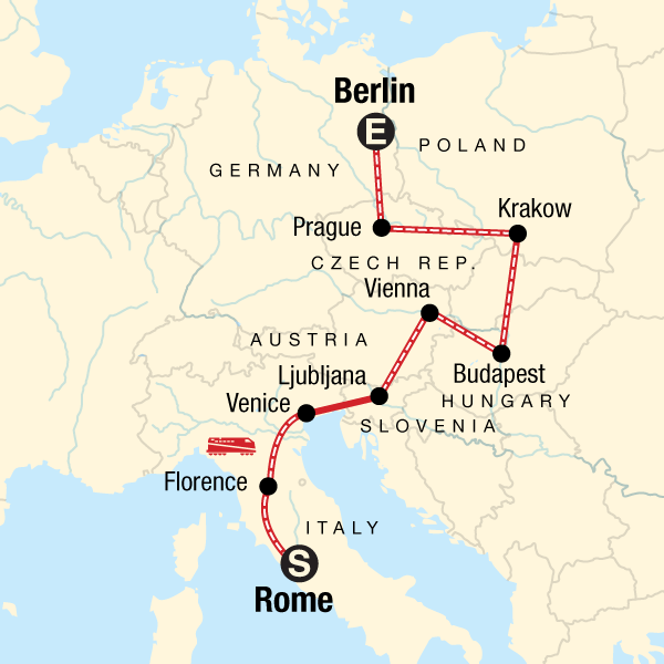 Map Of Germany Krakow.Rome To Berlin On A Shoestring