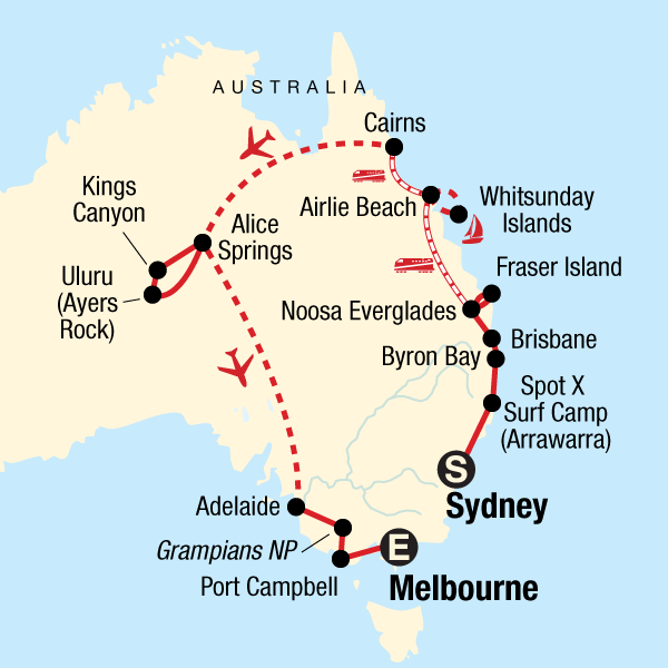 Map of the route for Australia Encompassed: Sand Islands & Sunsets