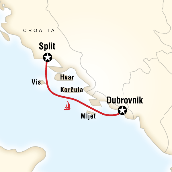 Map of the route for Sailing Croatia - Split to Dubrovnik