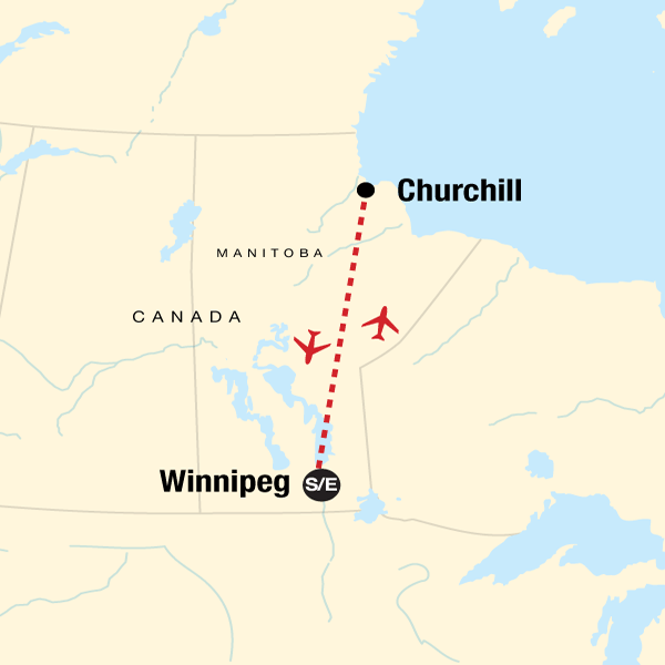 Map of the route for Canadian Polar Bear Experience