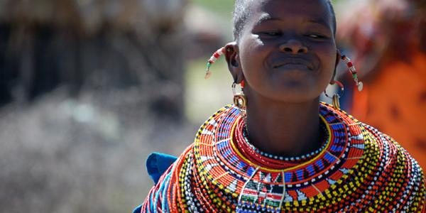Female Samburu dancer in Kenya.