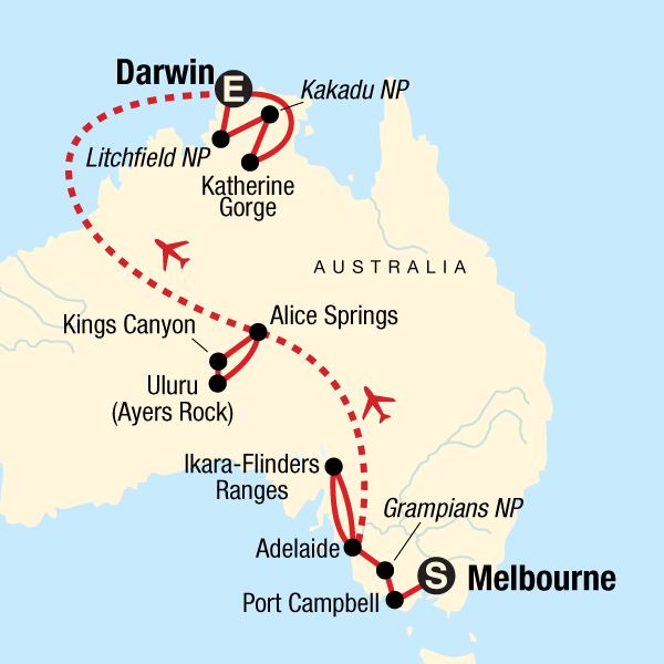 Australia Map Darwin.Australia South To North Melbourne To Darwin In Australia