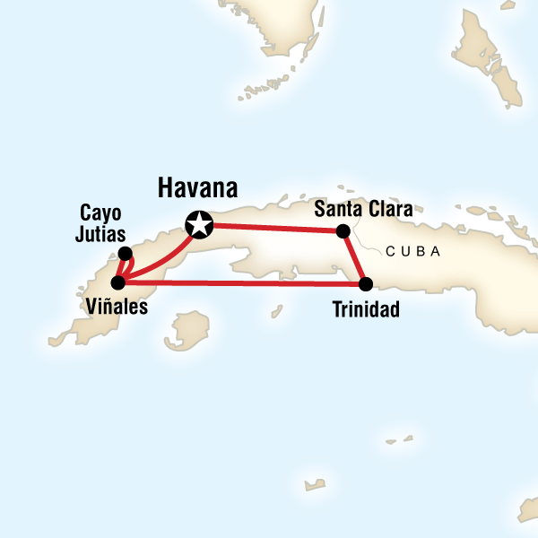 Map of the route for Cuban Rhythms