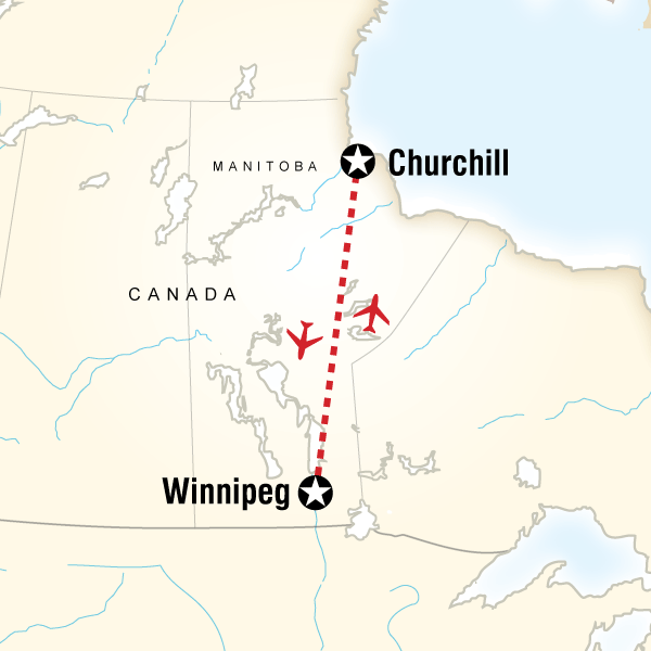 Map of the route for Churchill Polar Bears Independent Adventure
