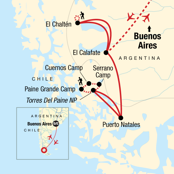 Map of the route for Hike Patagonia In Depth