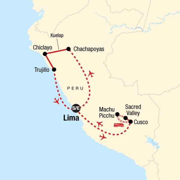 Map of the route for Explore Northern Peru & Machu Picchu