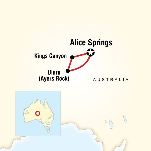 Map of the route for Red Centre Experience