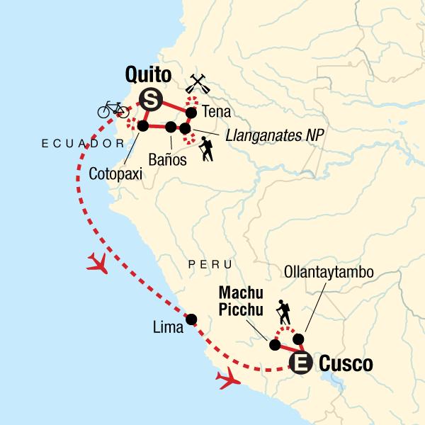 Map of the route for Active Ecuador & Peru