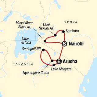 Map of Kenya & Tanzania Camping Safari