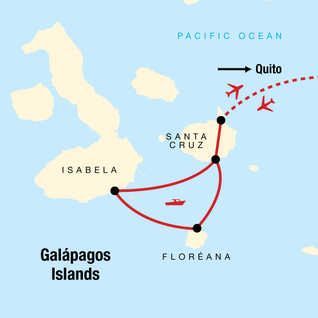 Map of Galápagos Island Hopping with Quito