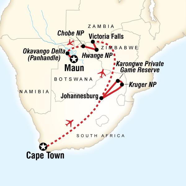 Cartina del tragitto per The Great Southern Africa Safari