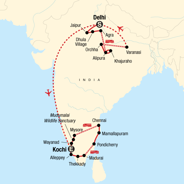 Map of the route for India Encompassed