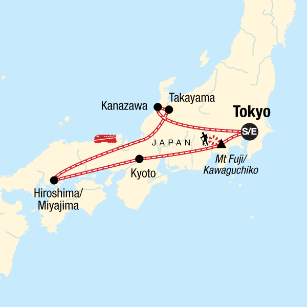 Map of the route for Discover Japan & Hike Mt Fuji