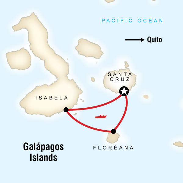 Map of the route for Galápagos Island Hopping