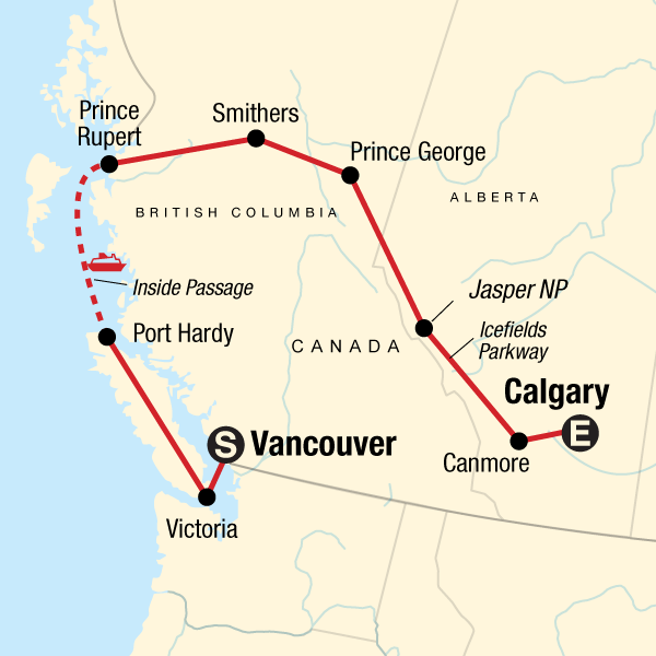 Map of the route for Vancouver Island & Northern Rockies