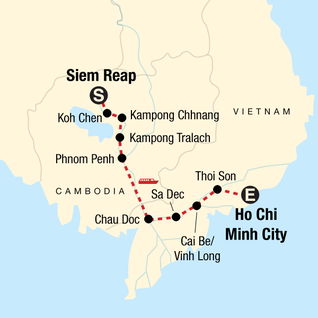 Map of Mekong River Experience – Siem Reap to Ho Chi Minh City