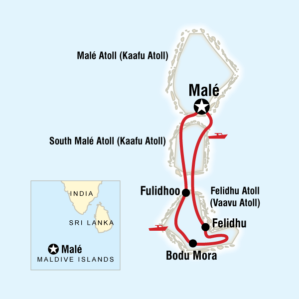 Map Of The Route For Maldives Dhoni Cruise