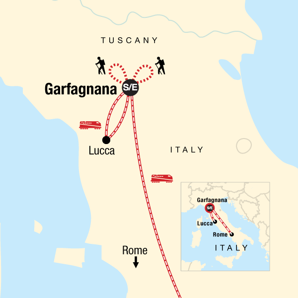 Map of the route for Local Living Italy - Tuscany Garfagnana