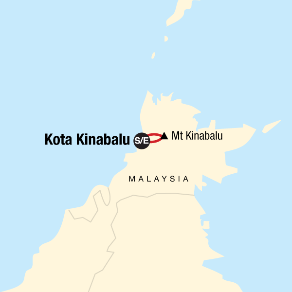 Map of the route for Trek Mt Kinabalu