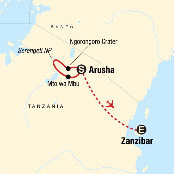 Map of the route for Serengeti Safari & Zanzibar