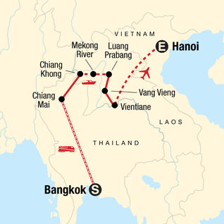 Map of Thailand and Laos Adventure
