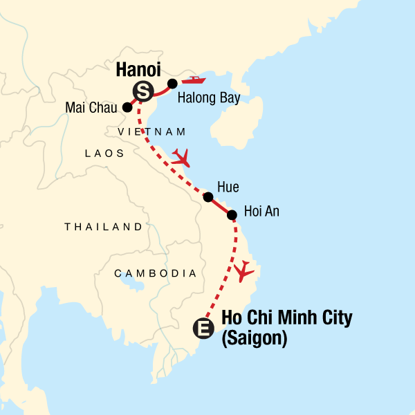 Map of the route for Explore Vietnam